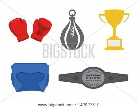 glove trophy bag helmet belt boxing sport training icon. Colorful and flat design. Vector illustration