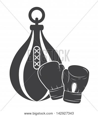 glove bag boxing sport training icon. black white and flat design. Vector illustration