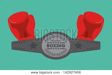 red glove boxing sport training icon. Colorful and flat design. Vector illustration