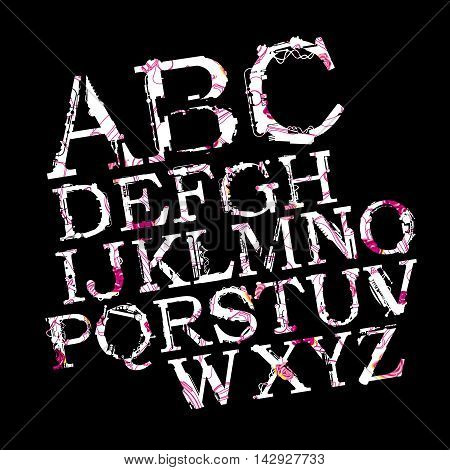 Vector Stylish Airbrush A to Z Typography on black background