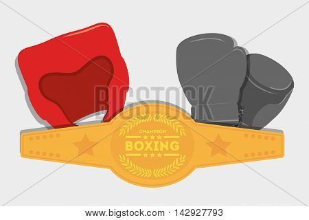 glove helmet belt boxing sport training icon. Colorful and flat design. Vector illustration