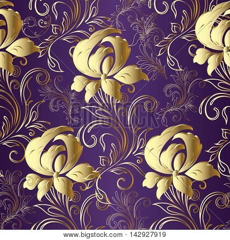 Violet floral vector seamless pattern background with  vintage ornaments and blooming volumetric gold flowers.Elegant tender 3d decor elements with shadow and highlights.Luxury endless texture