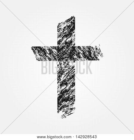 Grunge Christian cross. Isolated symbol. Uneven brush.