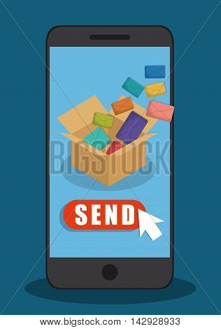envelope smartphone box email marketing send icon. Colorful and flat design. Vector illustration