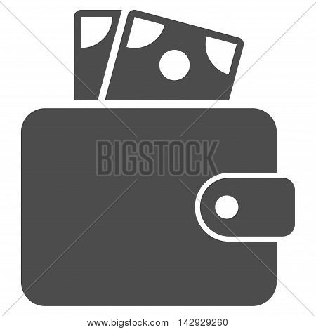 Wallet icon. Vector style is flat iconic symbol with rounded angles, gray color, white background.