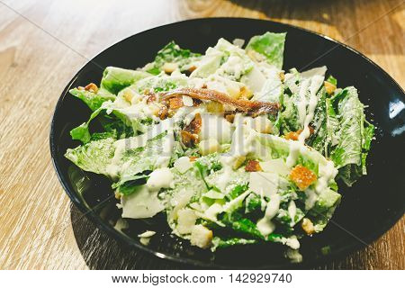 caesar salad with poached egg light meal