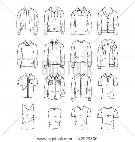 Hand drawn vector clothing set. 16 models of trendy men's tops.