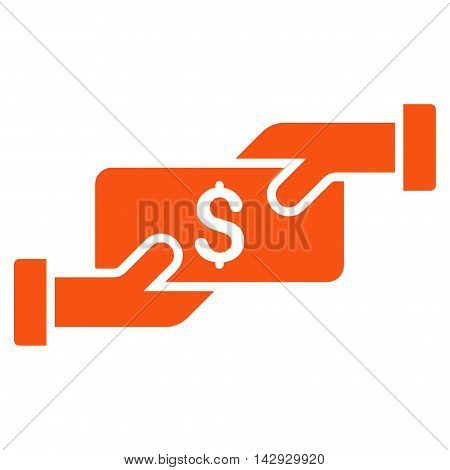 Payment icon. Vector style is flat iconic symbol with rounded angles, orange color, white background.