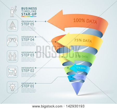 Modern cone 3d staircase diagram business. Vector illustration. Can be used for workflow layout banner number options start up template web design infographics timeline template.