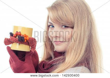 Vintage Photo, Smiling Girl In Woolen Gloves Holding Decorated Cup Of Tea, Autumn Decoration