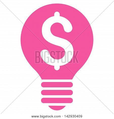 Business Patent Bulb icon. Vector style is flat iconic symbol with rounded angles, pink color, white background.
