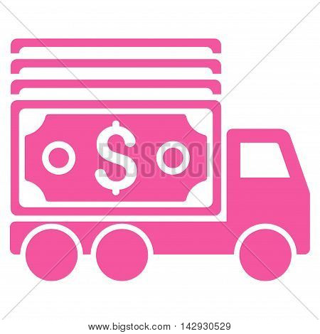 Cash Lorry icon. Vector style is flat iconic symbol with rounded angles, pink color, white background.