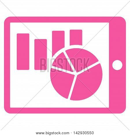 Charts on Pda icon. Vector style is flat iconic symbol with rounded angles, pink color, white background.