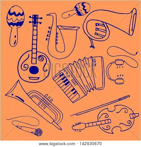Doodle of music stock collection vector art illustration