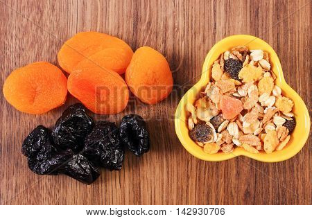 Dried Fruits And Muesli In Bowl, Concept Of Healthy Nutrition And Increase Metabolism