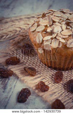 Vintage Photo, Fresh Muffin With Oatmeal Baked With Wholemeal Flour And Ears Of Rye Grain, Delicious