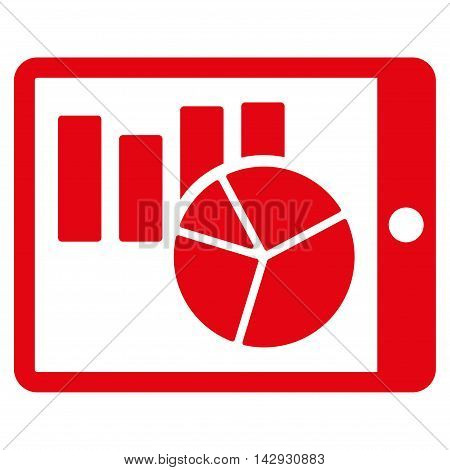 Charts on Pda icon. Vector style is flat iconic symbol with rounded angles, red color, white background.