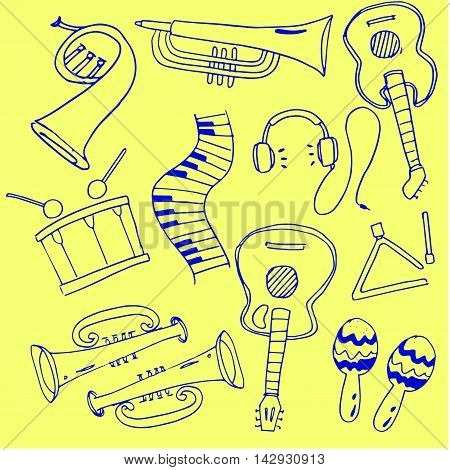 Vector illustration of music doodles hand draw