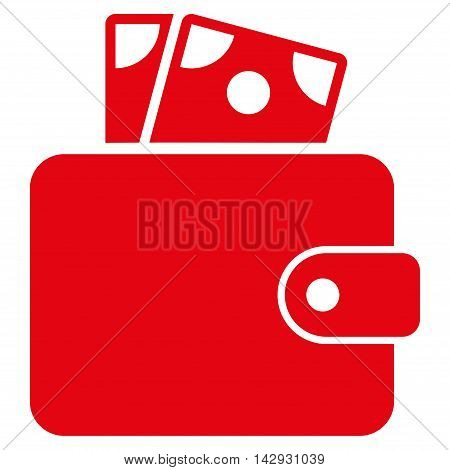 Wallet icon. Vector style is flat iconic symbol with rounded angles, red color, white background.