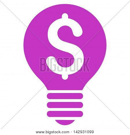 Business Patent Bulb icon. Vector style is flat iconic symbol with rounded angles, violet color, white background.