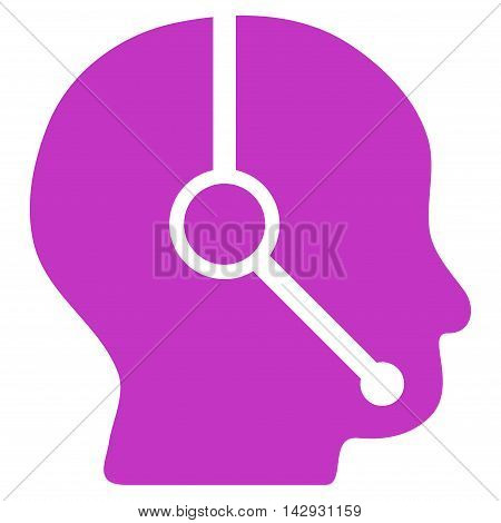 Call Center Operator icon. Vector style is flat iconic symbol with rounded angles, violet color, white background.