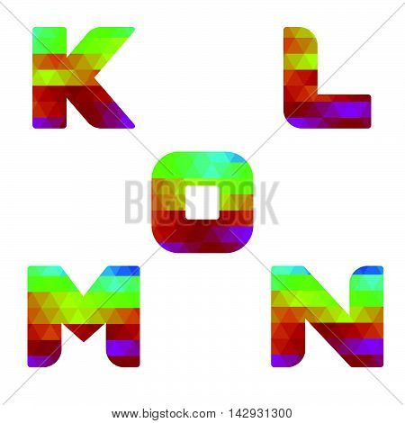Alphabet Colorful Letters K To O