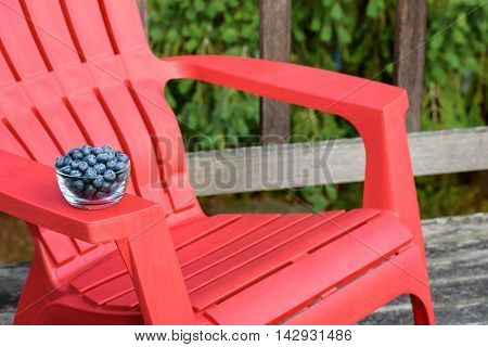 Bowl of blueberries waiting on the arm of a red deck chair