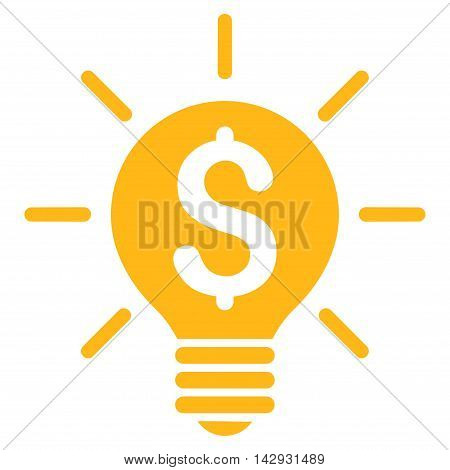 Business Idea Bulb icon. Vector style is flat iconic symbol with rounded angles, yellow color, white background.
