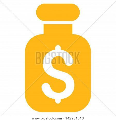 Business Remedy icon. Vector style is flat iconic symbol with rounded angles, yellow color, white background.