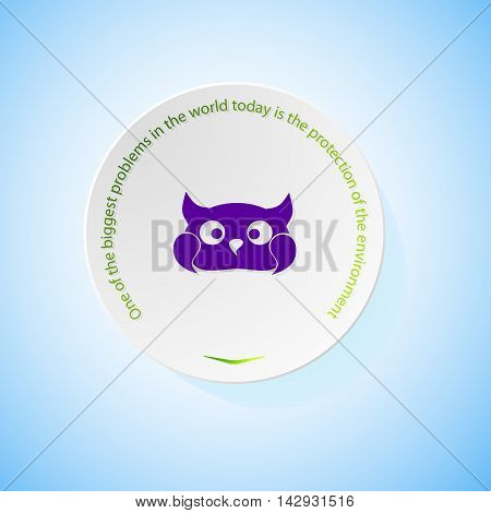Environmental icons depicting owl with shadow, abstract vector illustration
