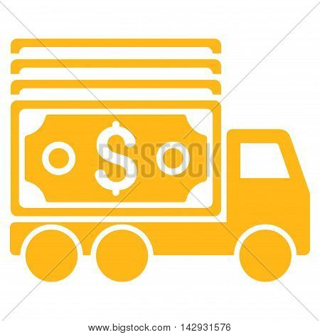 Cash Lorry icon. Vector style is flat iconic symbol with rounded angles, yellow color, white background.