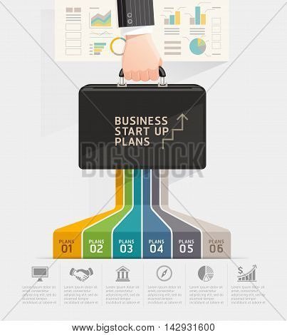 Business start up planning conceptual design. Businessman hand holding briefcase bag. Vector illustration.