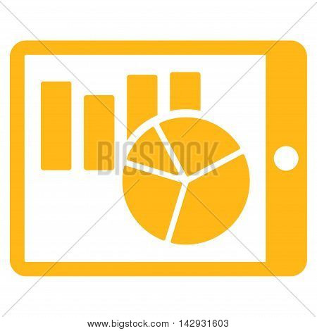 Charts on Pda icon. Vector style is flat iconic symbol with rounded angles, yellow color, white background.