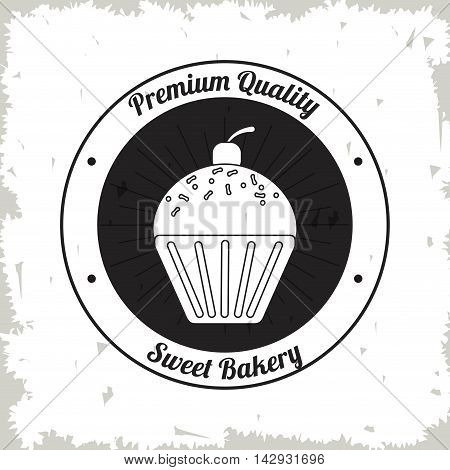 muffin cupcake seal stamp bakery food shop icon. Isolated and grunge illustration. Vector graphic