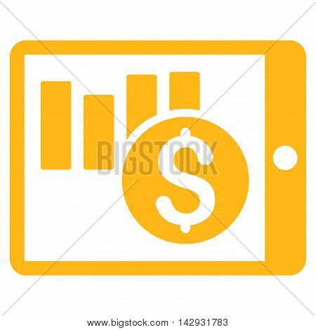 Sales Chart on Pda icon. Vector style is flat iconic symbol with rounded angles, yellow color, white background.