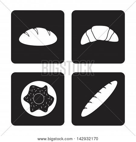 donut bread croissant bakery food shop icon. Isolated illustration. Vector graphic