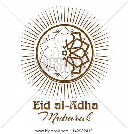 Eid al-Adha - Festival of the Sacrifice Bakr-Eid. Ornament icon and lettering - Eid al-Adha Mubarak. Vector illustration isolated on white background