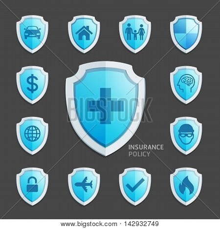 Insurance policy blue shield icon design. Vector Illustrations.