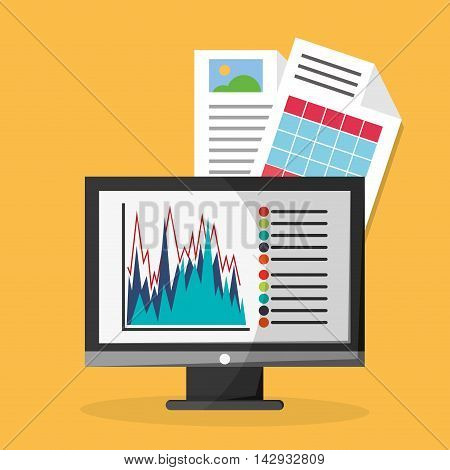 Spreadsheet computer document infographic icon. Colorful design. Vector illustration