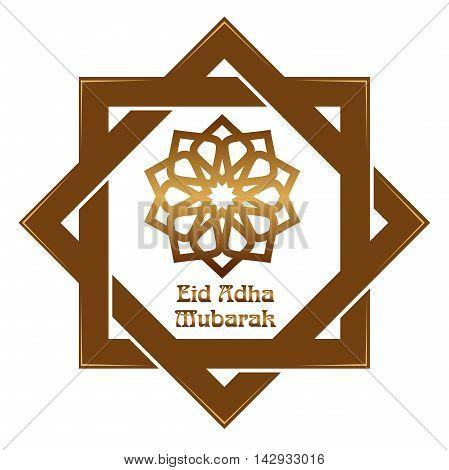 Eid al-Adha - Festival of the Sacrifice Bakr-Eid. Muslim holidays. Gold icon and lettering - Eid Adha Mubarak. Vector illustration isolated on white background