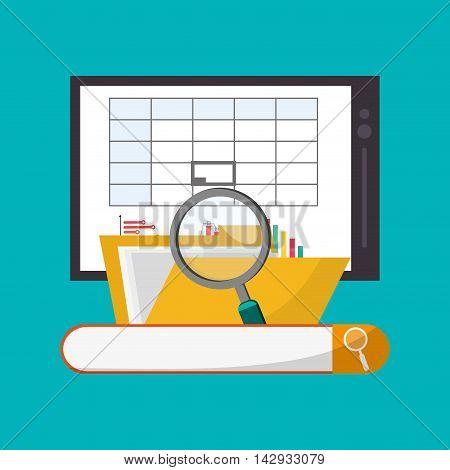 Spreadsheet tablet lupe file document infographic icon. Colorful design. Vector illustration