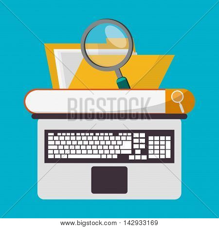 Spreadsheet laptop file lupe icon. Colorful design. Vector illustration