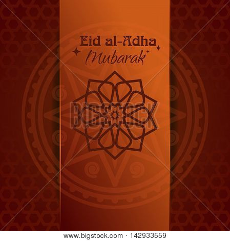 Arabic Islamic calligraphy of text 'Eid al-Adha' with decoration on creative background. Poster for festival of the Sacrifice. Vector illustration