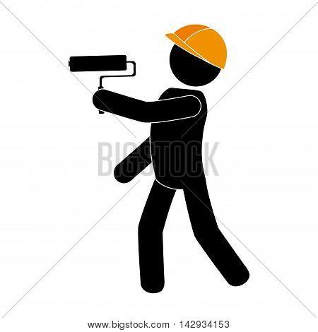 builder construction under working foreman paint roll helmet work vector illustration isolated