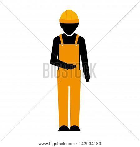 builder construction worker helmet man vector illustration isolated