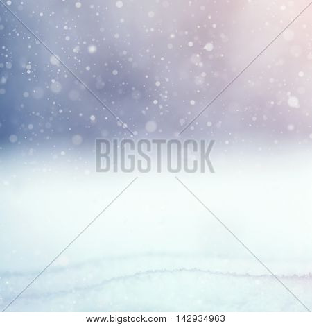 beautiful winter background with snow outdoors. vintage greeting card