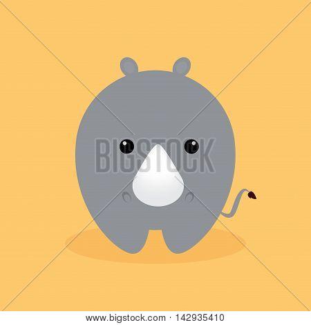 Cute cartoon rhino on a orange background