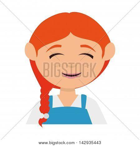 girl cute cartoon female kid child smile vector illustration isolated