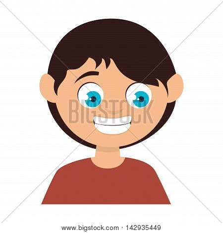 boy face smiling smile male kid child cartoon vector illustration isolated