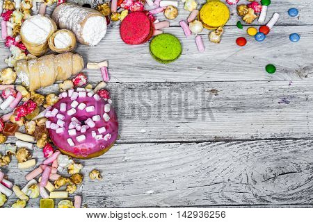 Big Beautiful Pink Box With Sweets On Wooden Background